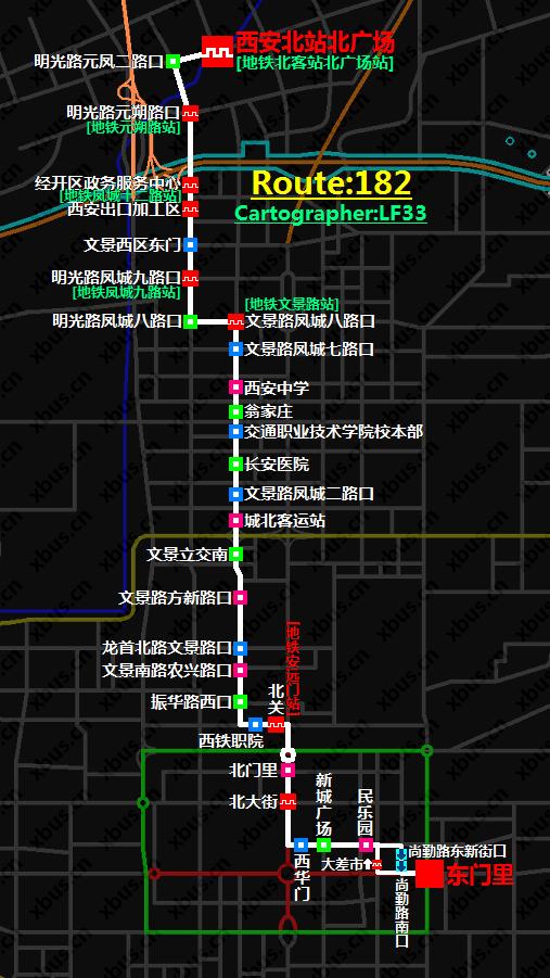 西安公交线路图_182路公交车-西安公交网