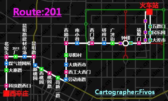 西辛庄—火车站; 西安公交线路图; 201路公交车在线视频