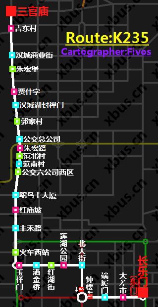 k235路公交线路图; 长安4500空调线路图; 西安公交k235路车;