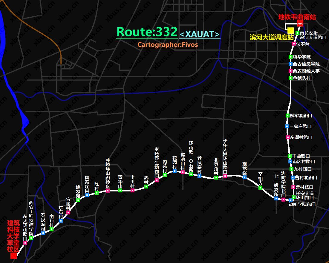 西安公交线路图_332路公交车-西安公交网