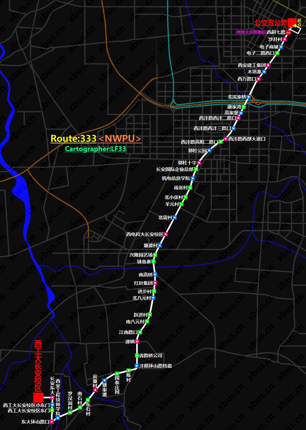 西安公交线路图_333路公交车-西安公交网