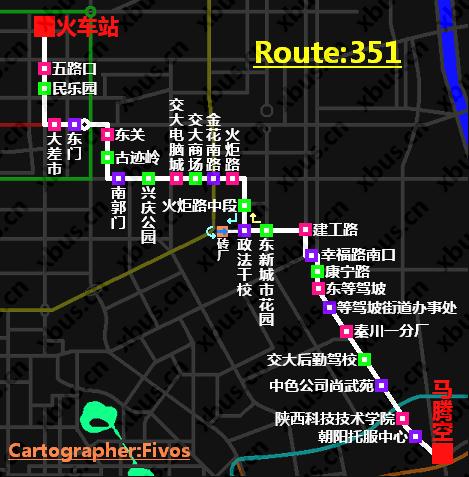 351路公交线路图