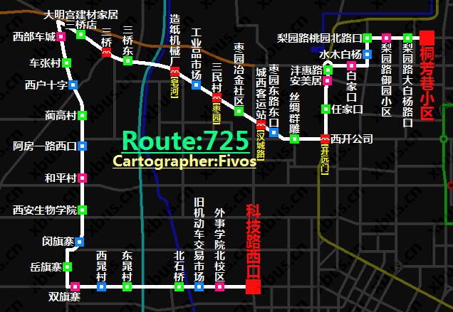 西安公交线路图_725路公交车-西安公交网