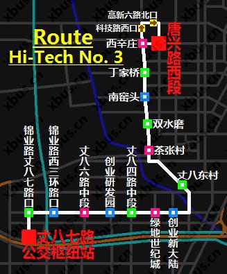 高新3号线路公交车-西安公交网; 西安公交线路图; 高新3号线路公交车